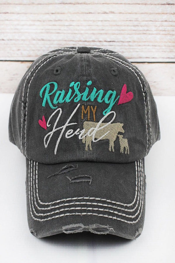 Distressed Black 'Raising My Herd' Cap