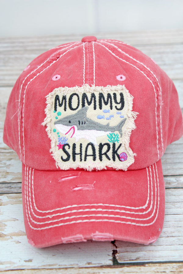 Distressed Salmon 'Mommy Shark' Cap