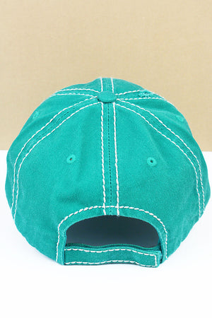 Distressed Turquoise 'Super Mom Super Tired Super Blessed' Cap