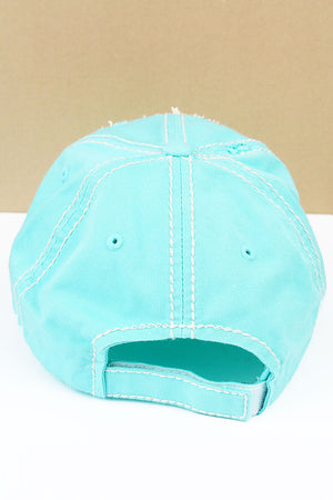 Distressed Mint Blue 'Beach Girl' Cap