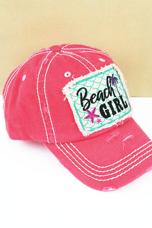 Distressed Salmon 'Beach Girl' Cap