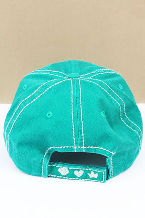 Distressed Turquoise 'Wife Mom Boss' Cap