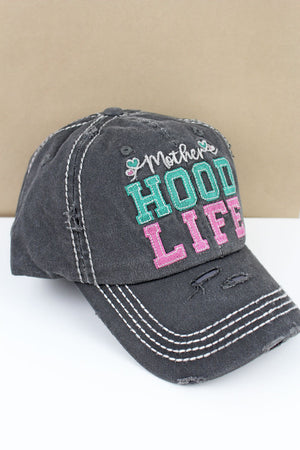 Distressed Black 'Mother Hood Life' Cap