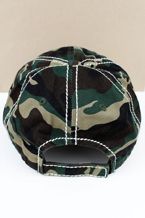 Distressed Camo 'Mother Hood Life' Cap