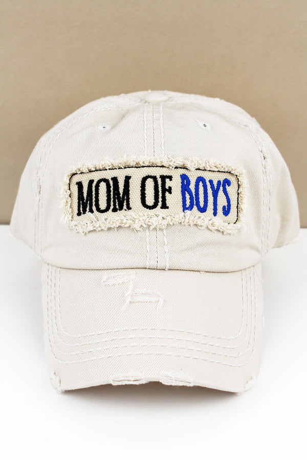 Distressed Stone 'Mom Of Boys' Cap