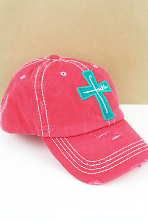 Distressed Salmon 'Faith' Cross Cap