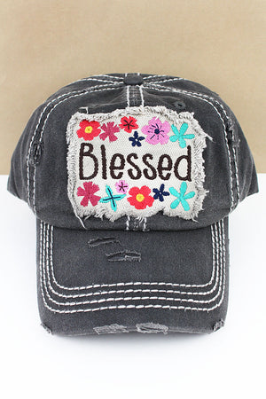 Distressed Black 'Blessed' Floral Cap