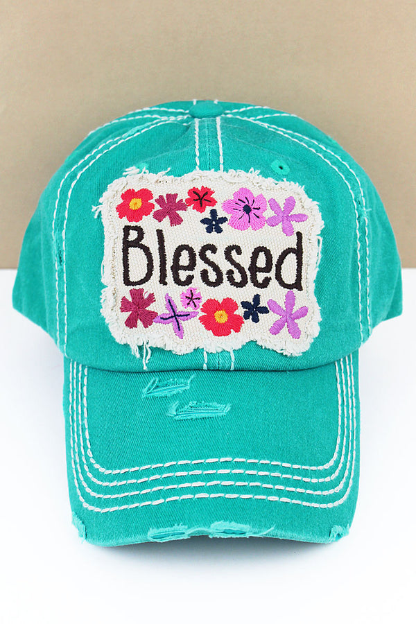 Distressed Turquoise 'Blessed' Floral Cap