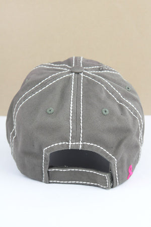 Distressed Steel Gray with Pink Ribbon Flag Cap