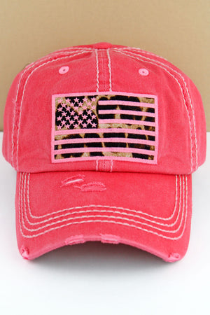 Distressed Salmon Leopard Flag Cap