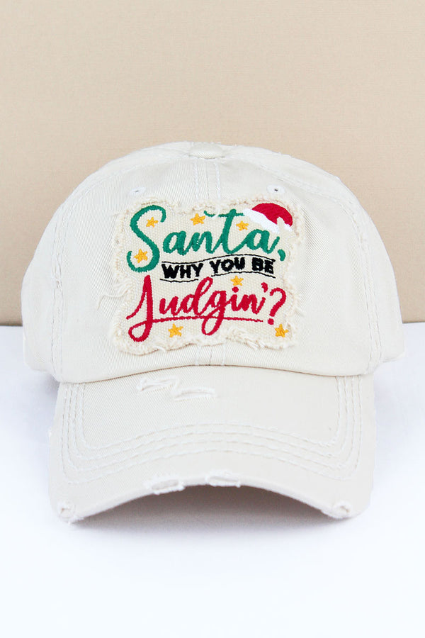 Distressed Stone 'Santa Why You Be Judgin'?' Cap