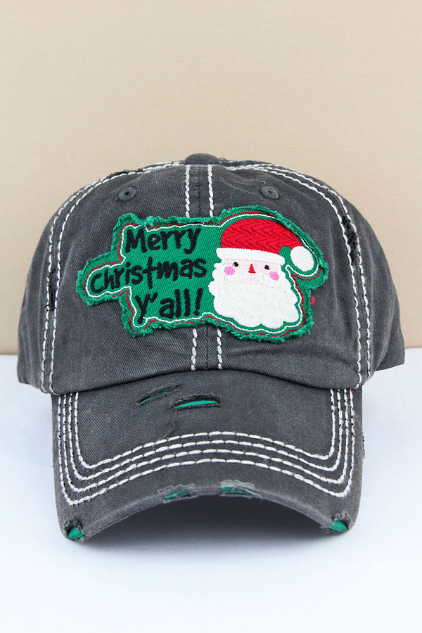 Distressed Black 'Merry Christmas Y'all' Santa Cap