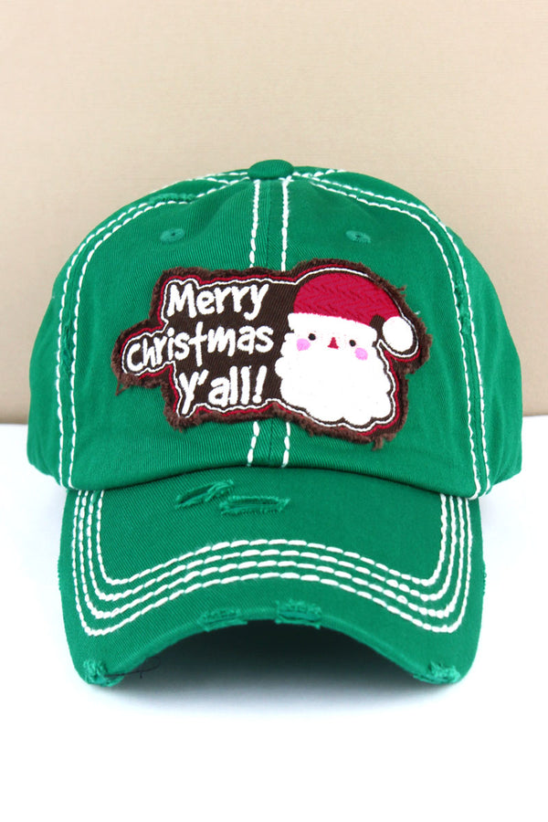 Distressed Kelly Green 'Merry Christmas Y'all' Santa Cap