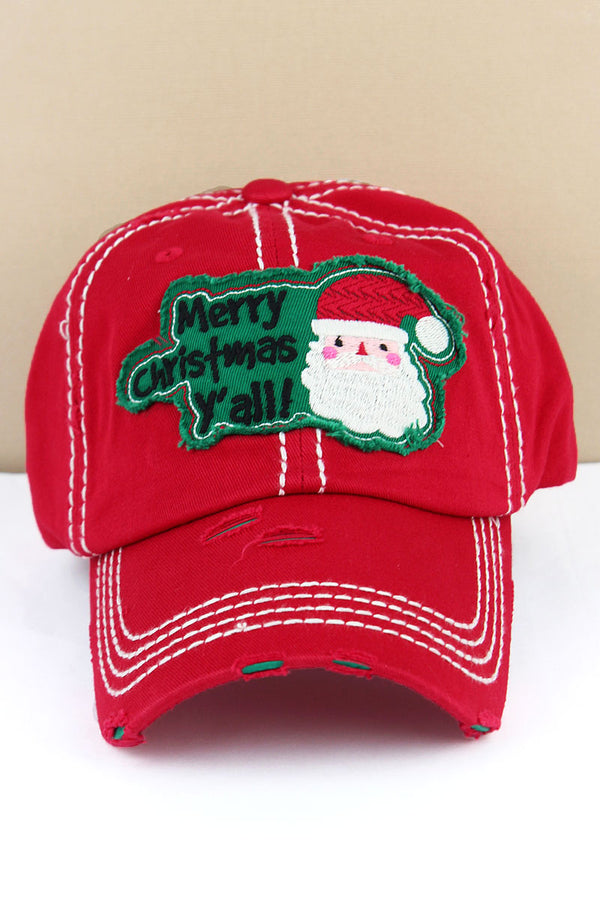 Distressed Red 'Merry Christmas Y'all' Santa Cap