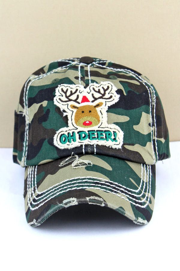 Distressed Camo 'Oh Deer!' Rudolph Cap