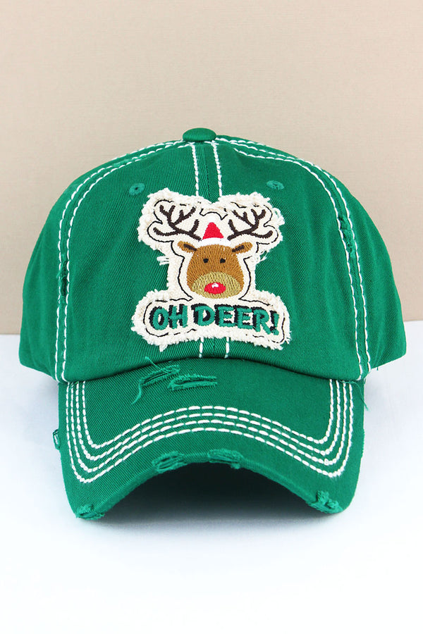 Distressed Kelly Green 'Oh Deer!' Rudolph Cap