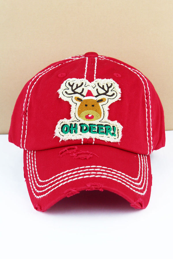 Distressed Red 'Oh Deer!' Rudolph Cap