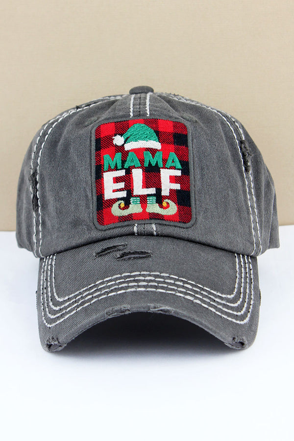 Distressed Black 'Mama Elf' Plaid Cap