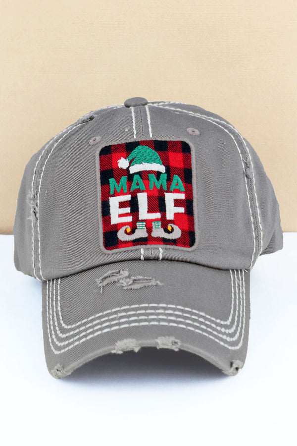 Distressed Steel Gray 'Mama Elf' Plaid Cap