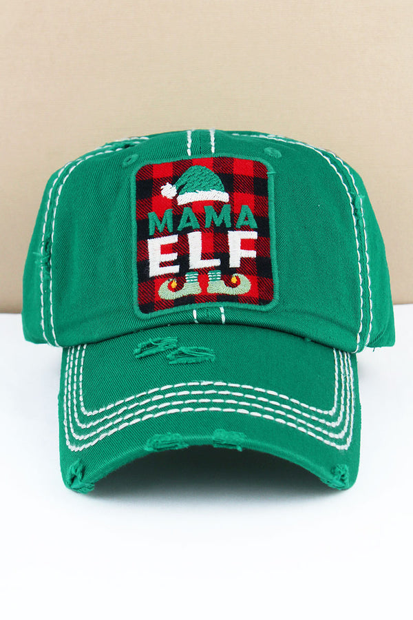 Distressed Kelly Green 'Mama Elf' Plaid Cap