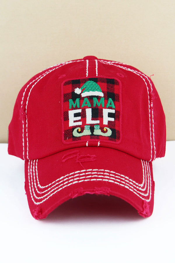 Distressed Red 'Mama Elf' Plaid Cap