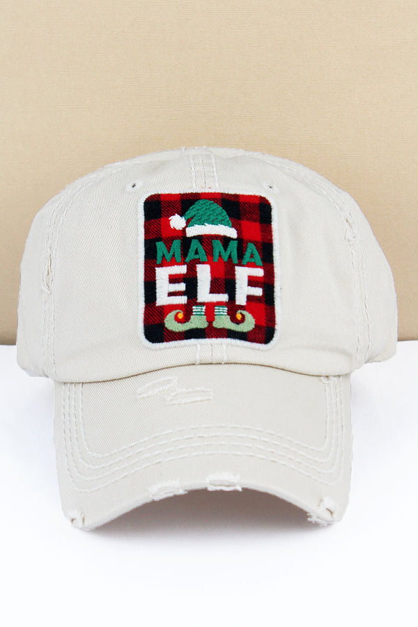 Distressed Stone 'Mama Elf' Plaid Cap