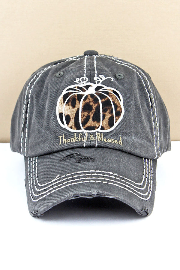Distressed Black 'Thankful & Blessed' Leopard Pumpkin Cap