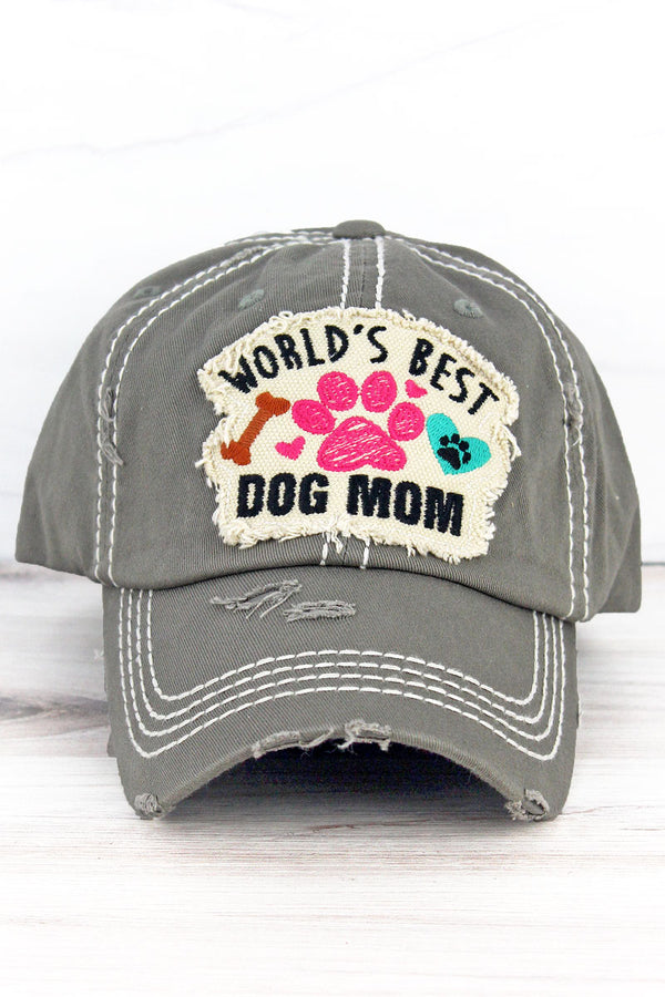 Distressed Steel Gray 'World's Best Dog Mom' Cap
