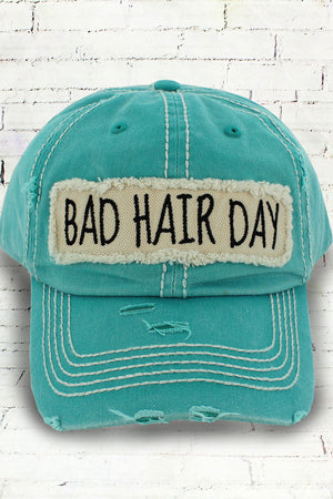 Distressed Teal 'Bad Hair Day' Cap #KBV-1073-TEAL