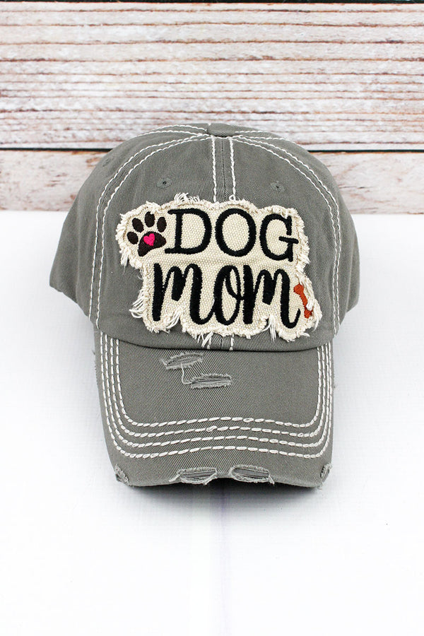 Distressed Steel Gray 'Dog Mom' Cap
