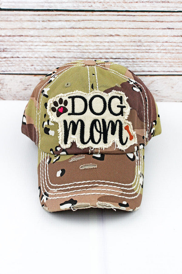Distressed Desert Camo 'Dog Mom' Cap