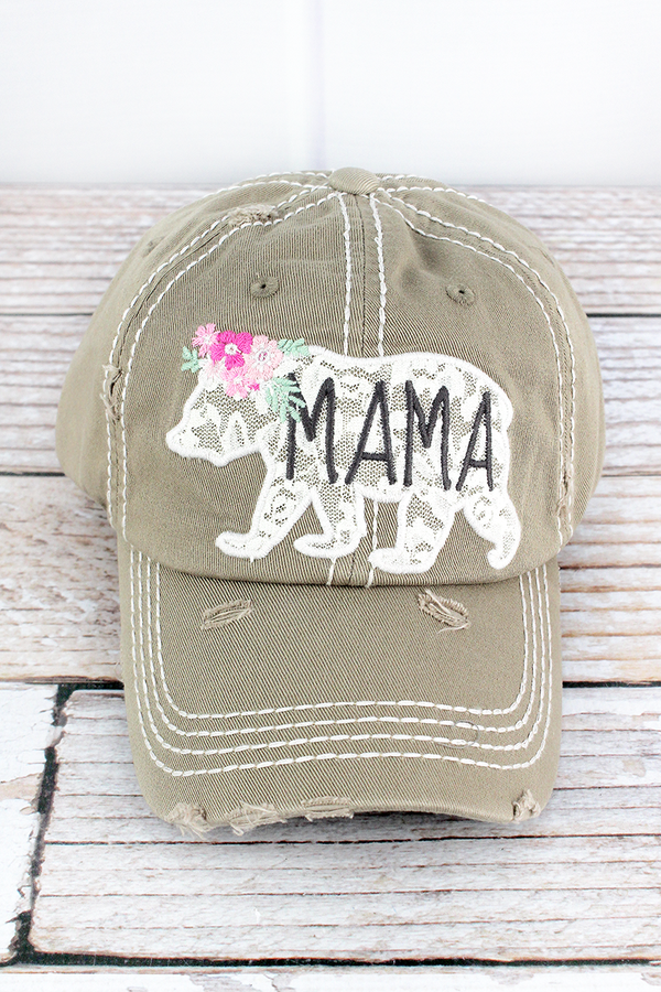 Distressed Khaki with Lace Mama Bear Cap