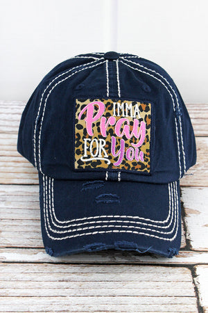 Distressed Navy 'Imma Pray For You' Cap