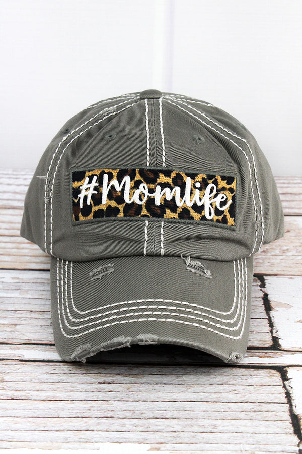 Distressed Steel Gray '#Momlife' Cap