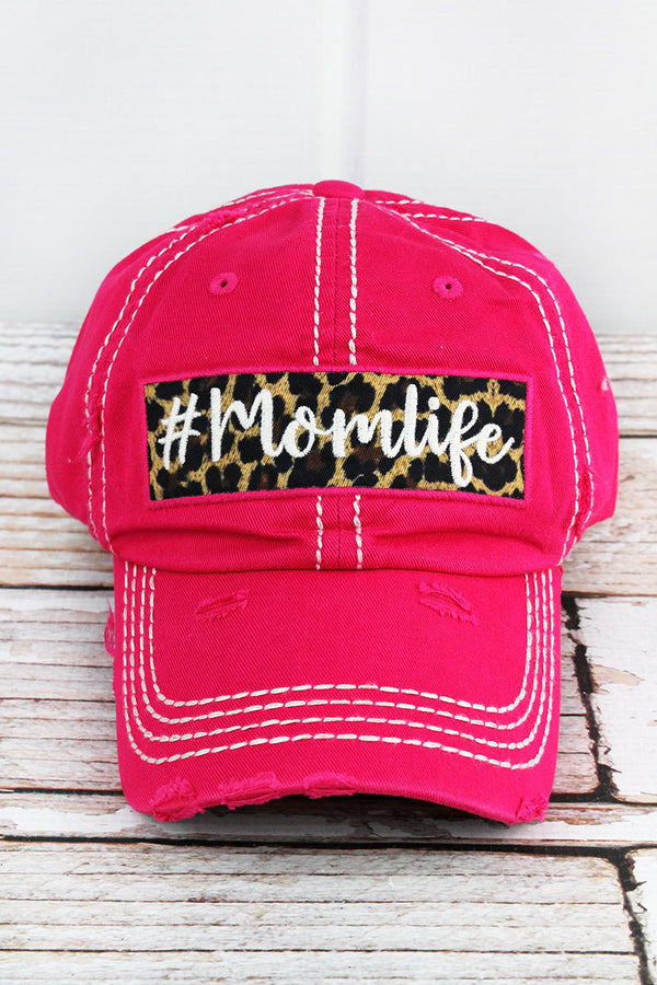 Distressed Hot Pink '#Momlife' Cap