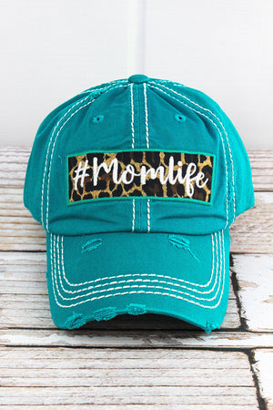 Distressed Turquoise '#Momlife' Cap