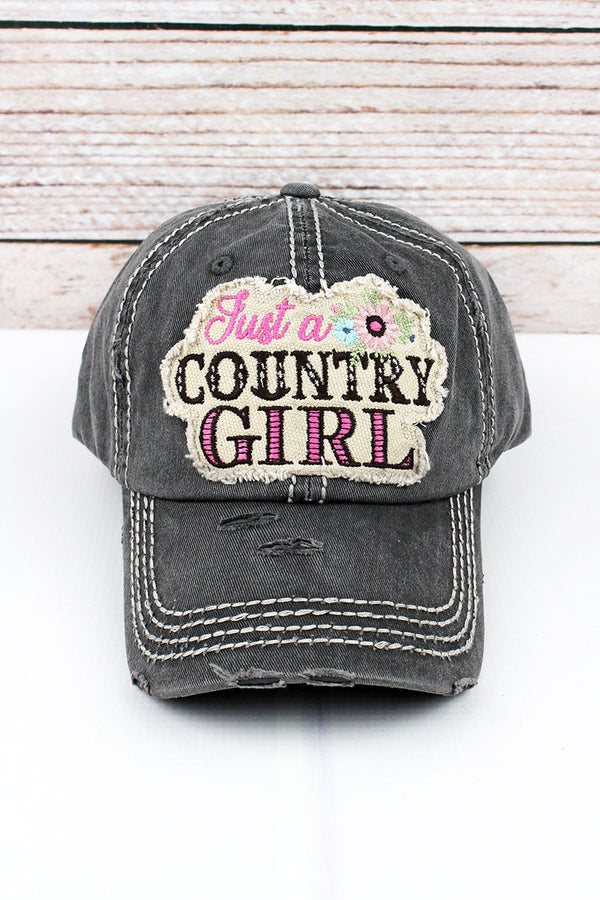 Distressed Black Floral 'Just a Country Girl' Cap
