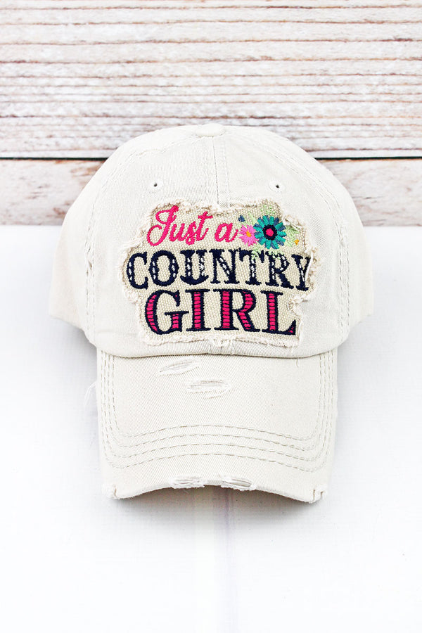 Distressed Stone Floral 'Just a Country Girl' Cap