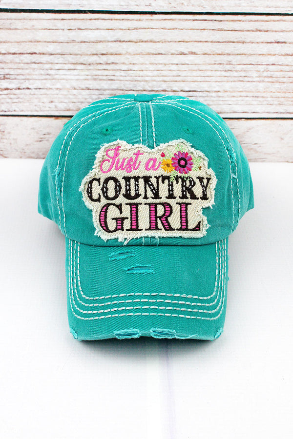 Distressed Turquoise Floral 'Just a Country Girl' Cap