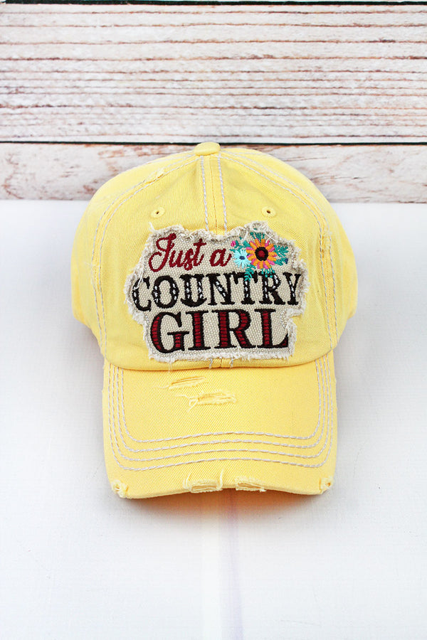 Distressed Yellow Floral 'Just a Country Girl' Cap