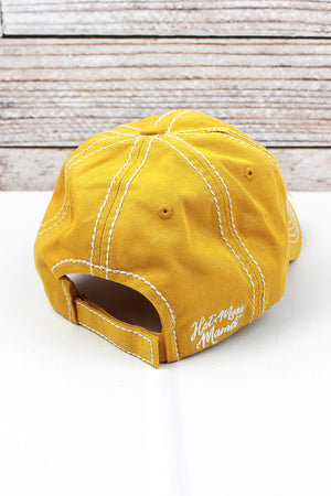 Distressed Yellow 'Hot Mess Mama' Cap