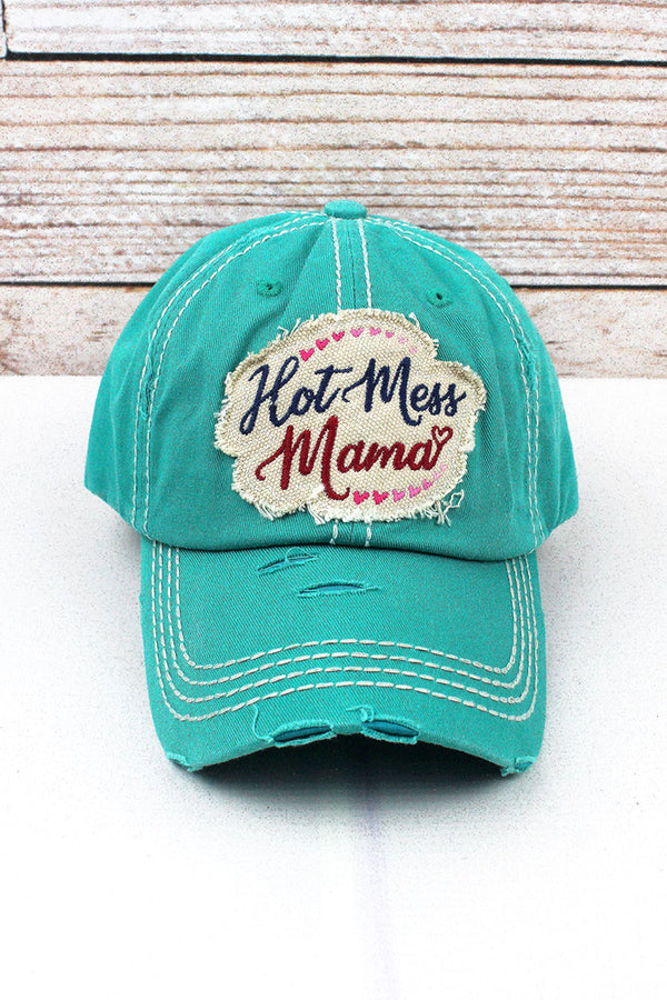 Distressed Turquoise 'Hot Mess Mama' Cap