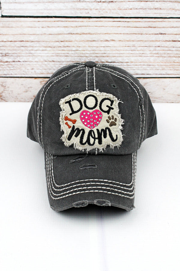 Distressed Black Rhinestone Heart 'Dog Mom' Cap