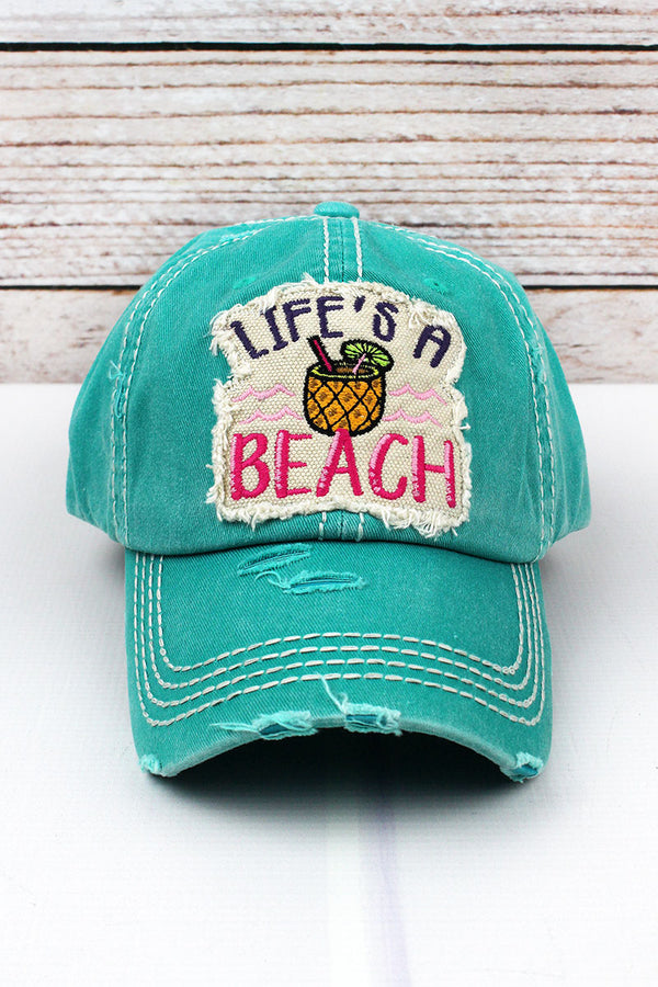 Distressed Turquoise 'Life's A Beach' Cap