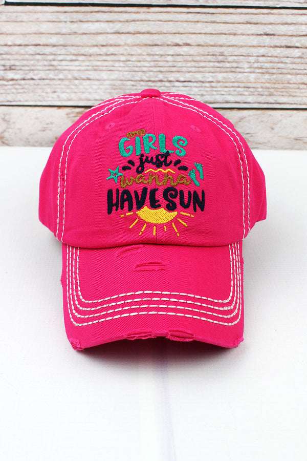 Distressed Hot Pink 'Girls Just Wanna Have Sun' Cap