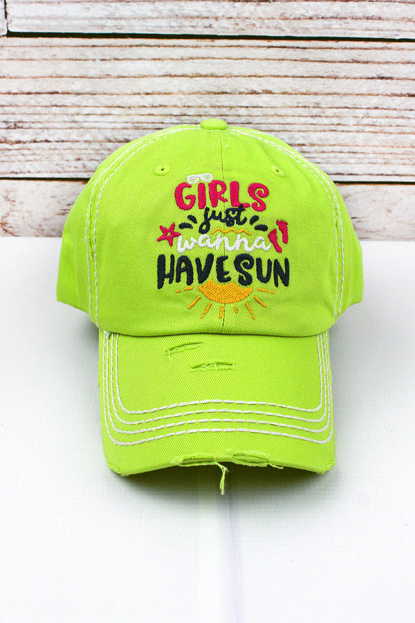 Distressed Lime 'Girls Just Wanna Have Sun' Cap