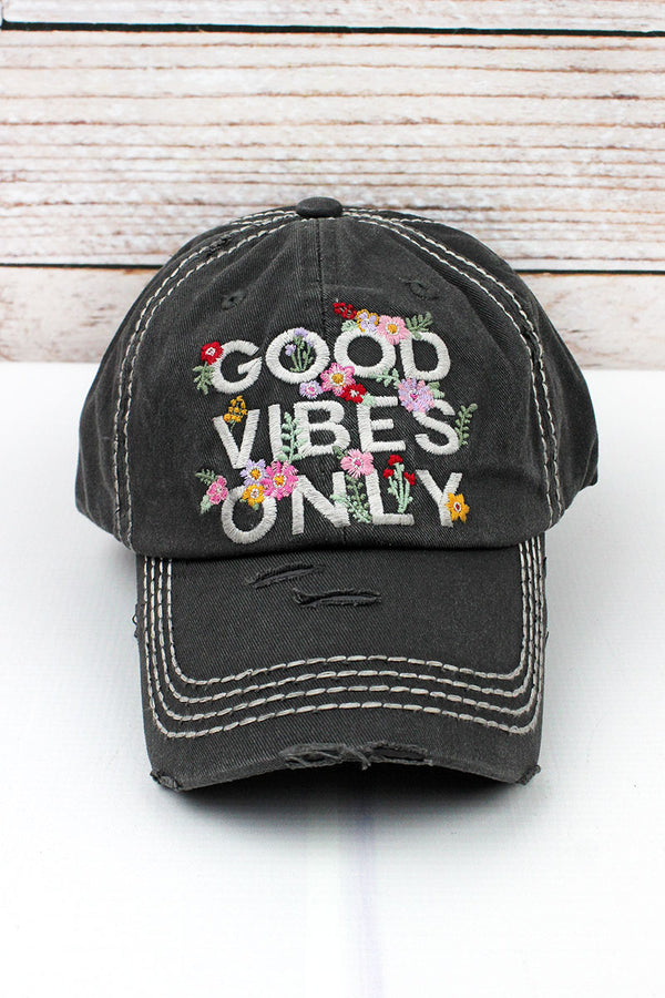Distressed Black 'Good Vibes Only' Cap