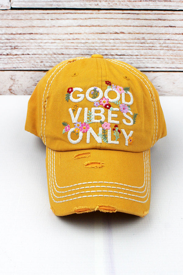 Distressed Yellow 'Good Vibes Only' Cap