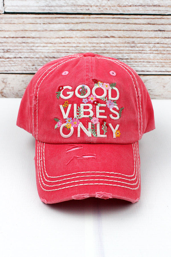Distressed Salmon 'Good Vibes Only' Cap