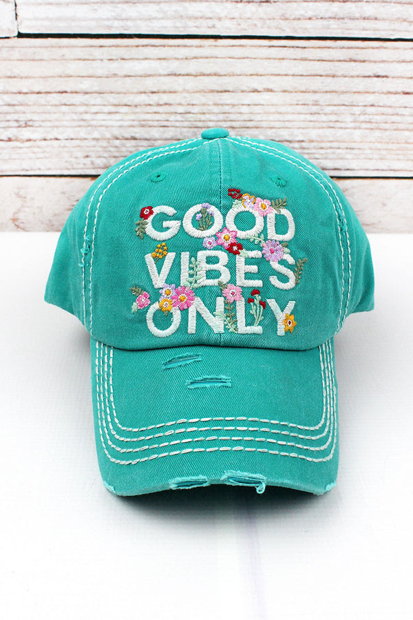 Distressed Turquoise 'Good Vibes Only' Cap